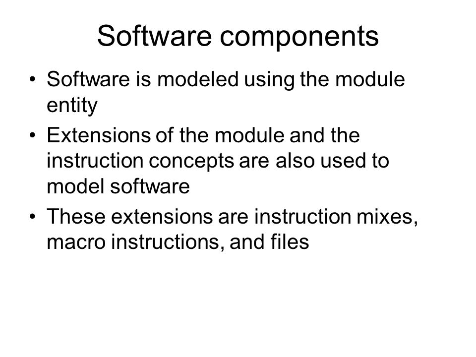 Software components Software is modeled using the module entity