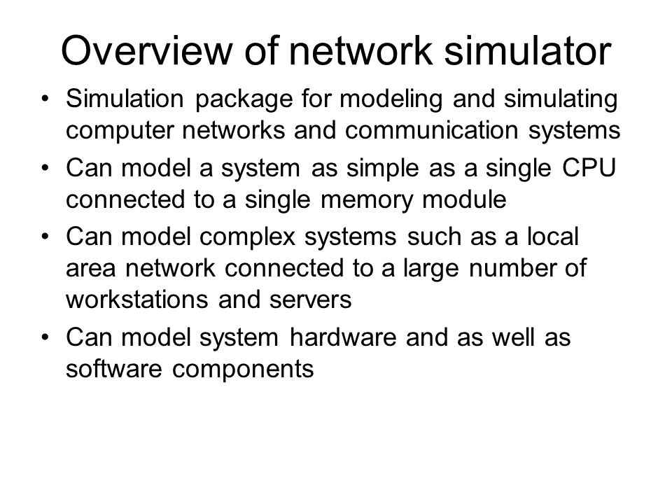 Overview of network simulator