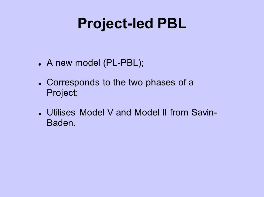 Project-led PBL A new model (PL-PBL);