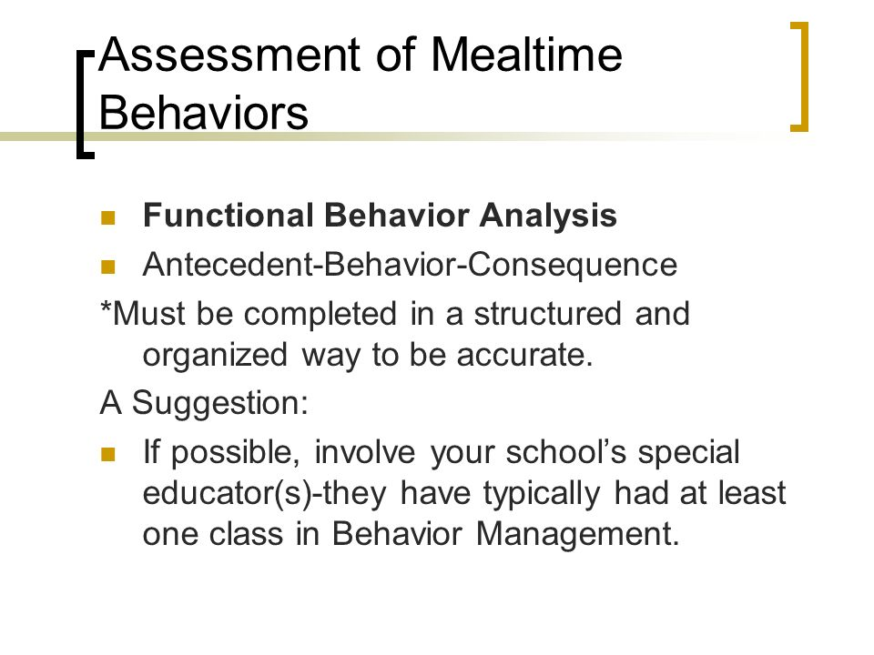 Assessment of Mealtime Behaviors