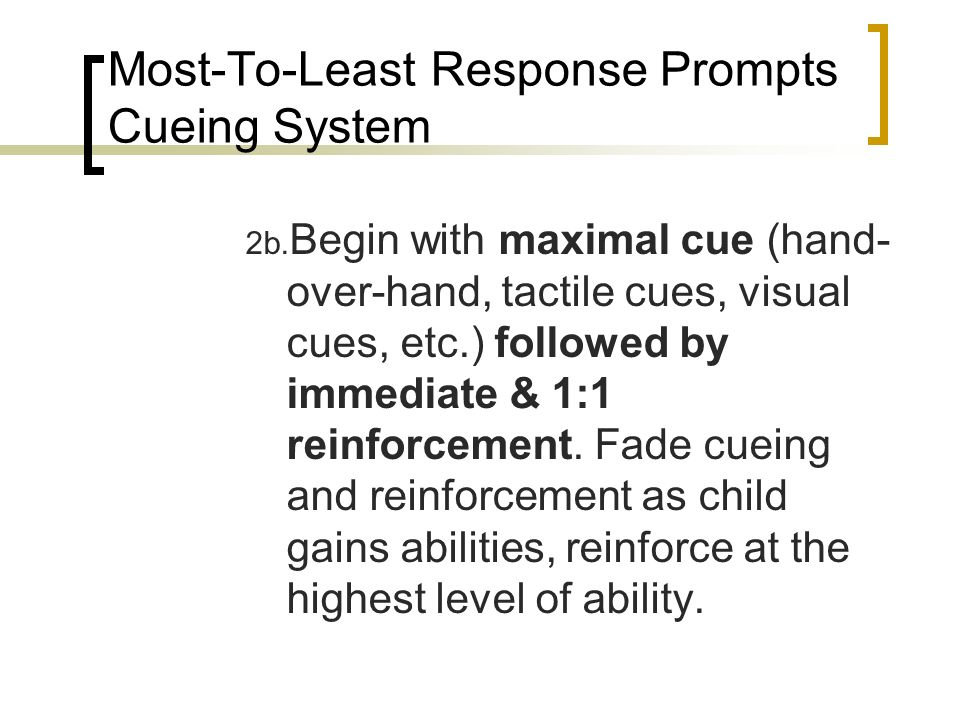 Most-To-Least Response Prompts Cueing System