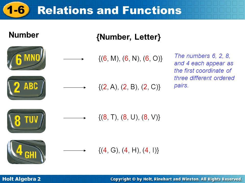 Number {Number, Letter} {(6, M), (6, N), (6, O)}
