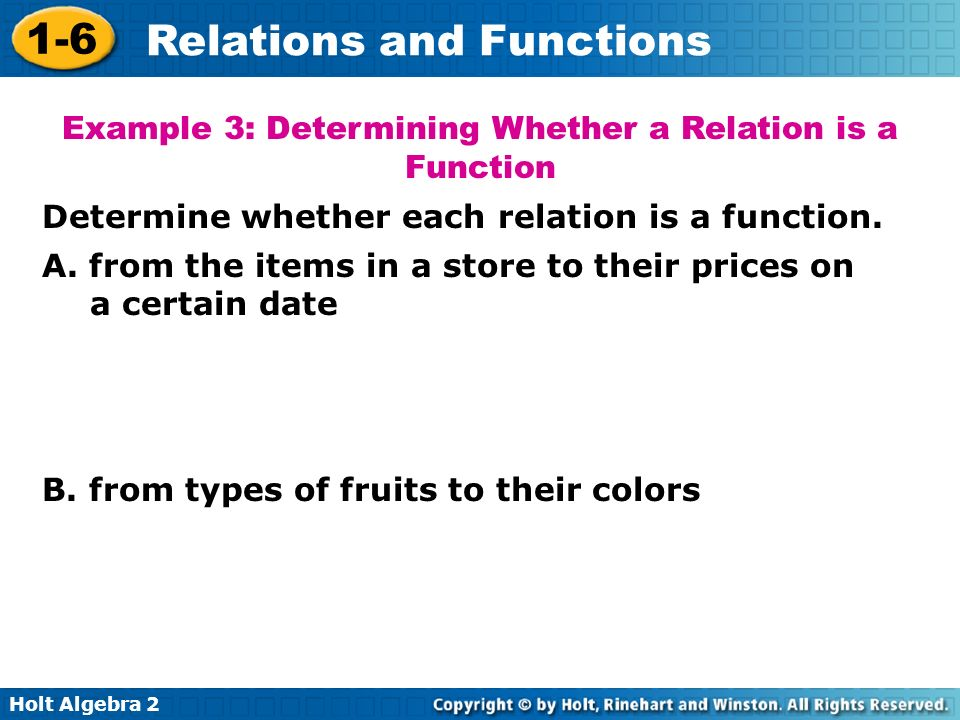 Example 3: Determining Whether a Relation is a Function