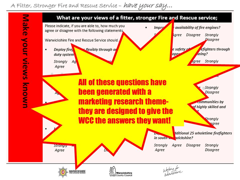 All of these questions have been generated with a marketing research theme-they are designed to give the WCC the answers they want!