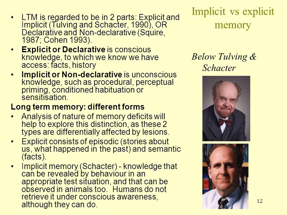 Implicit vs explicit memory