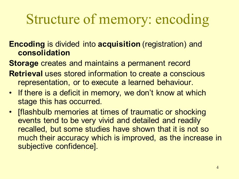 Structure of memory: encoding