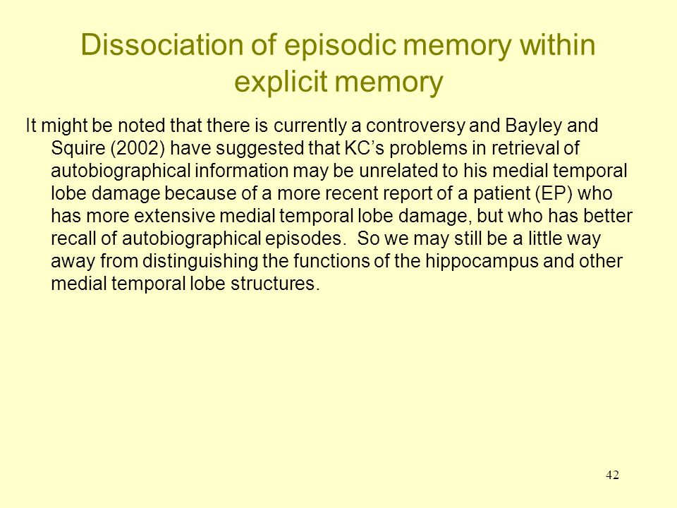 Dissociation of episodic memory within explicit memory