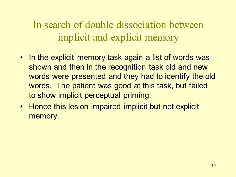 In search of double dissociation between implicit and explicit memory