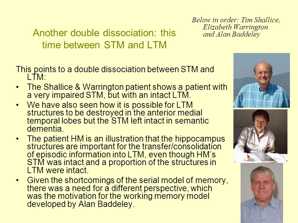 Another double dissociation: this time between STM and LTM