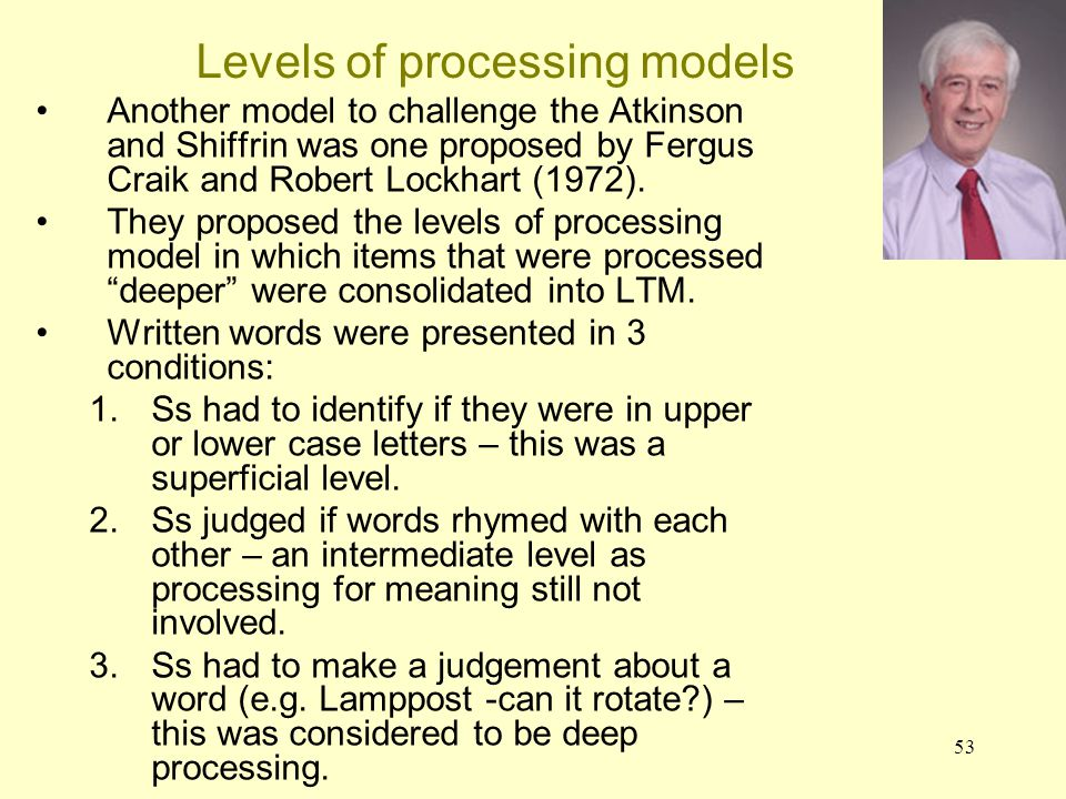Levels of processing models