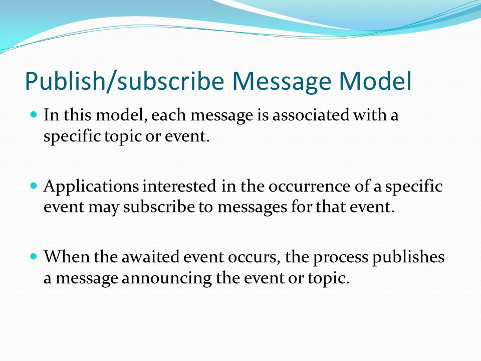 Publish/subscribe Message Model
