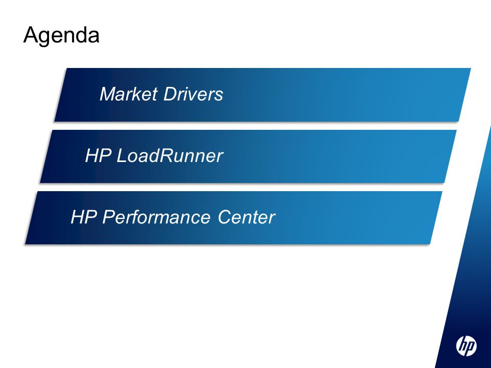 Agenda Market Drivers HP LoadRunner HP Performance Center