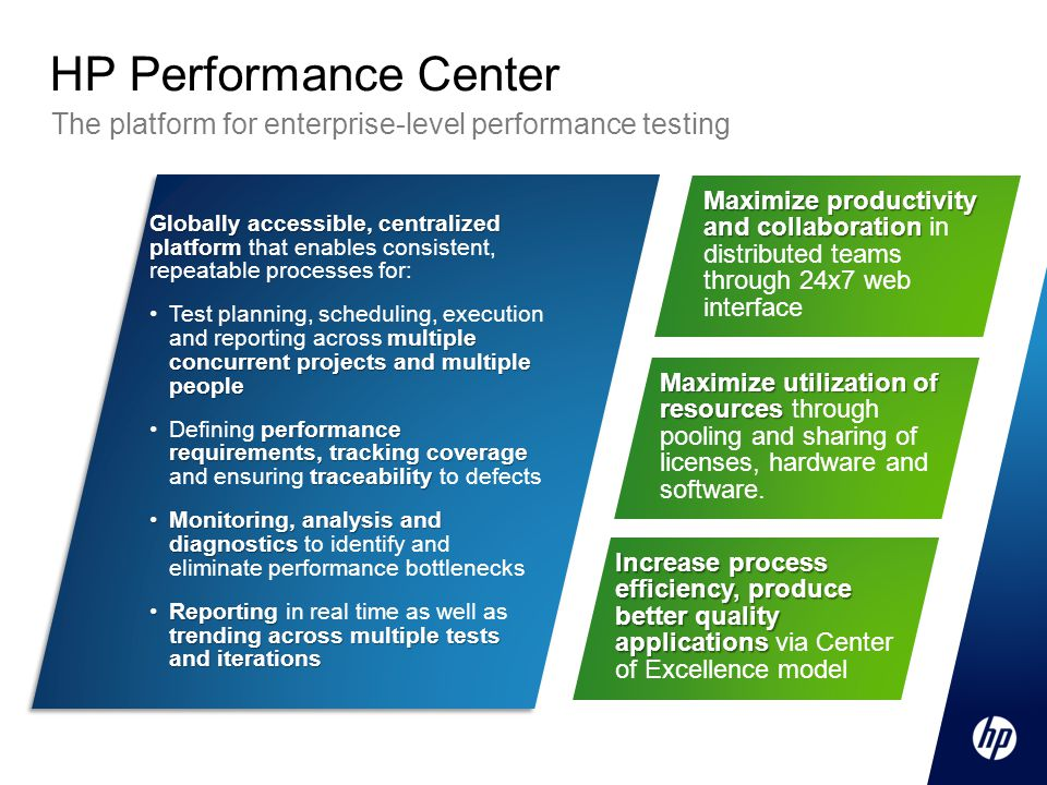 HP Performance Center The platform for enterprise-level performance testing.