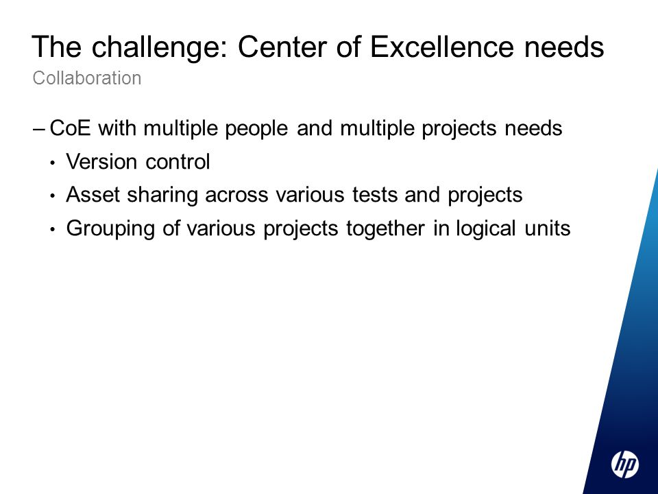 The challenge: Center of Excellence needs