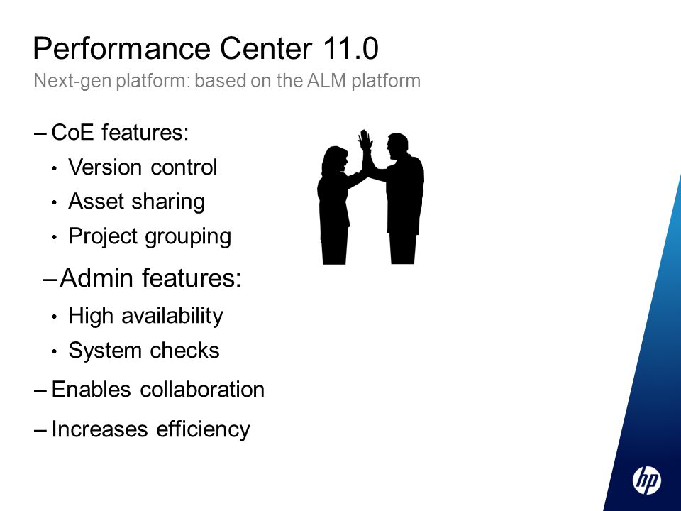 Performance Center 11.0 Admin features: CoE features: Version control