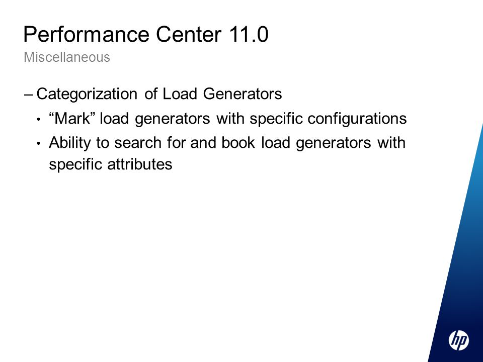 Performance Center 11.0 Categorization of Load Generators