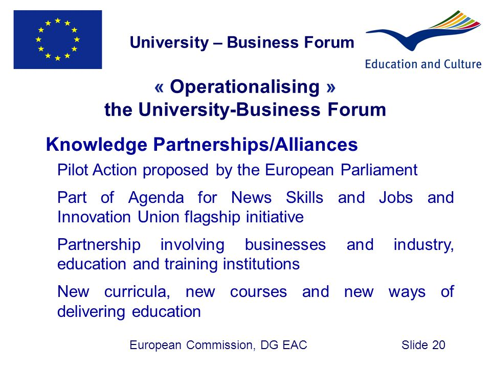 University – Business Forum the University-Business Forum