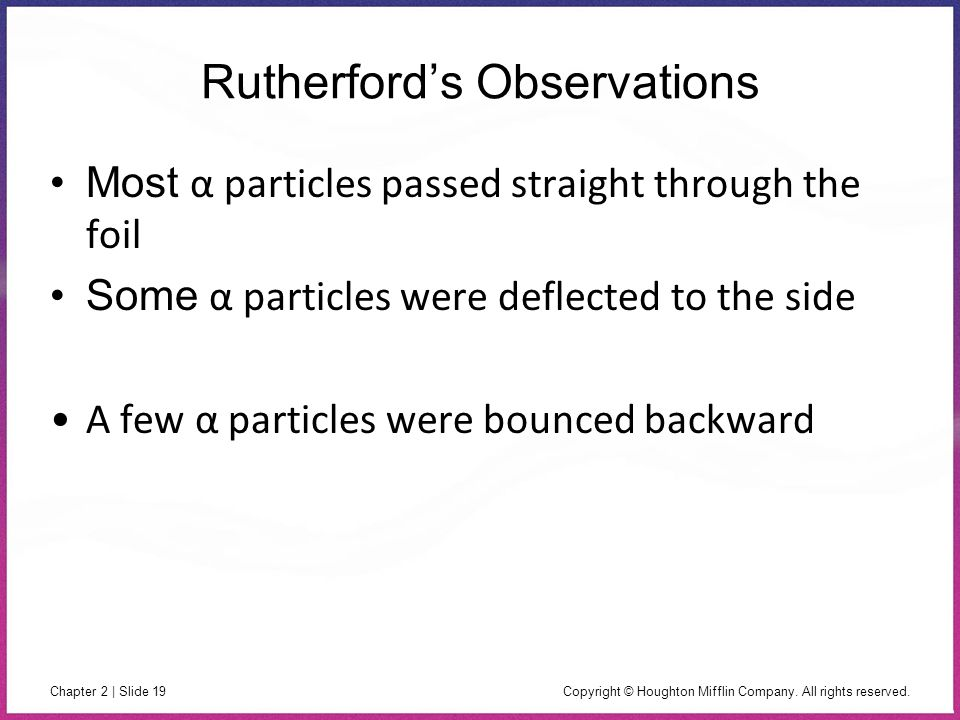 Rutherford's Observations