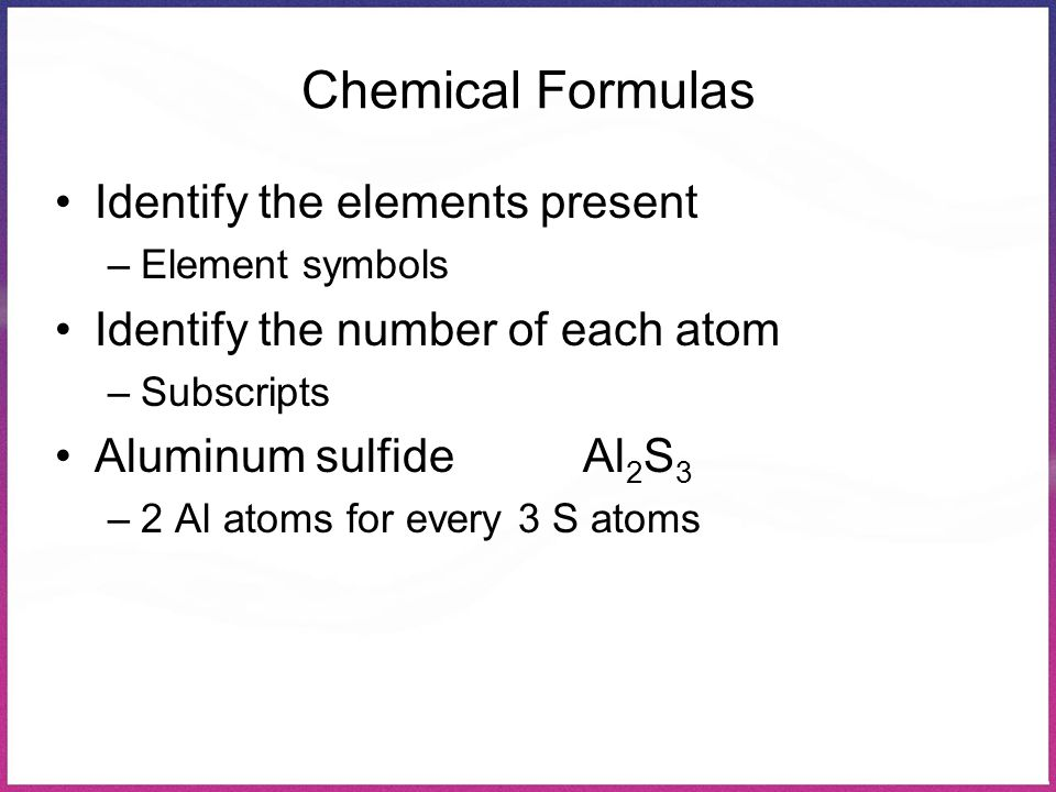 Chemical Formulas Identify the elements present