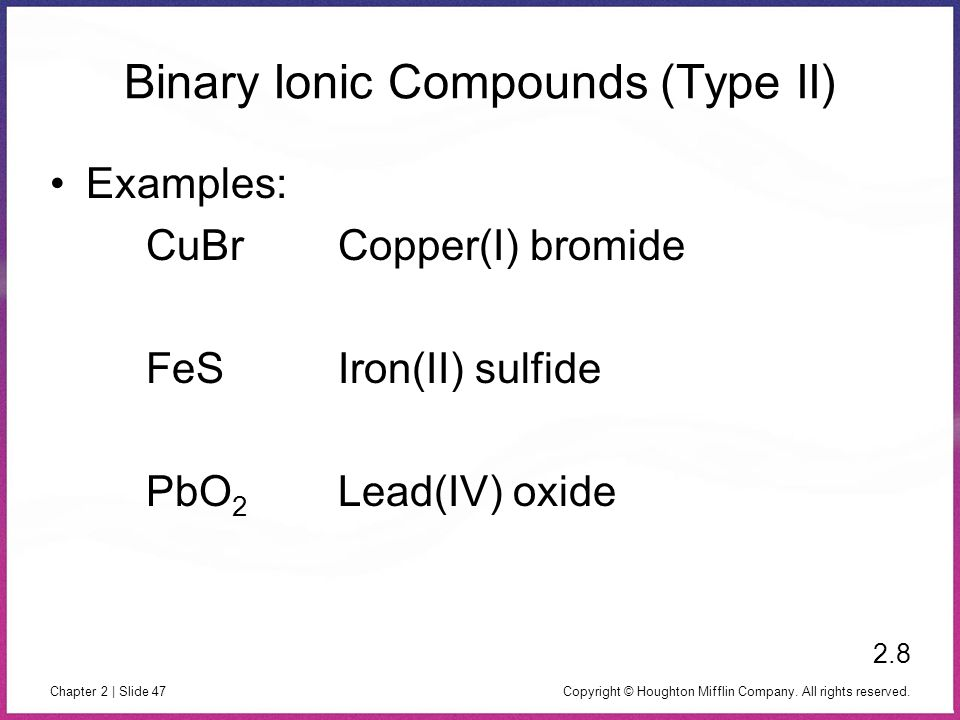 Binary Ionic Compounds (Type II)