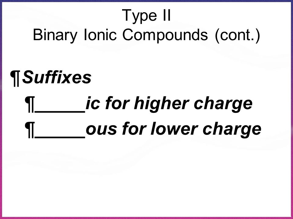 Type II Binary Ionic Compounds (cont.)