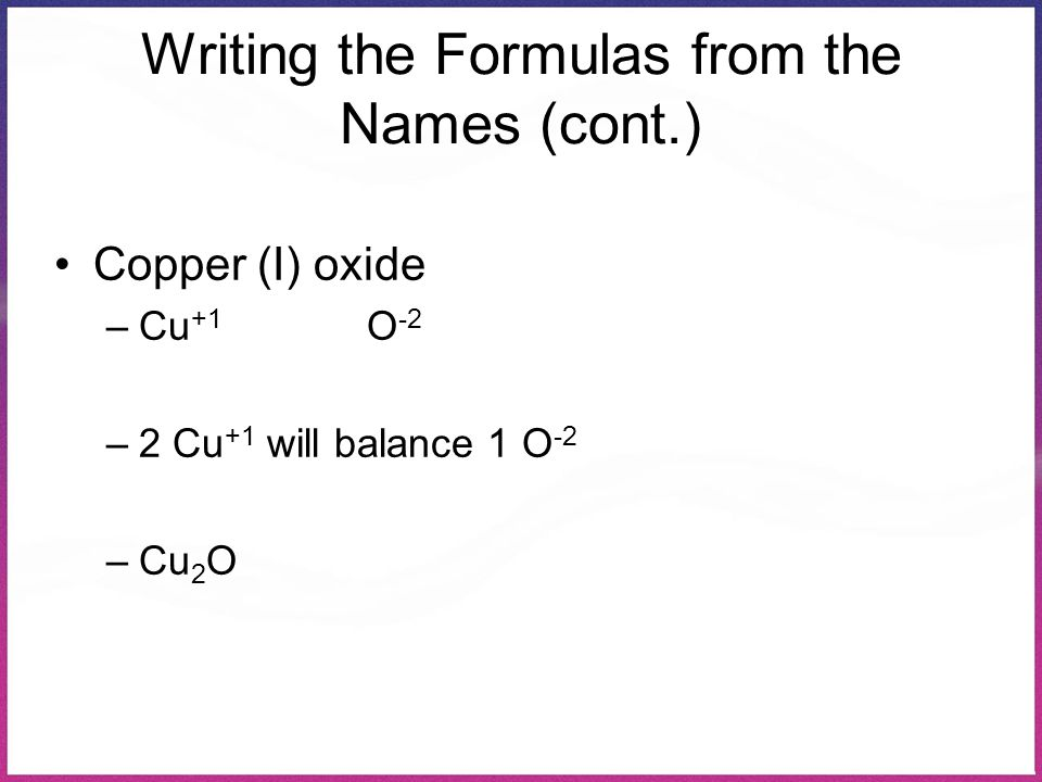 Writing the Formulas from the Names (cont.)