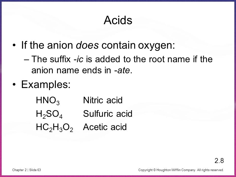 Acids If the anion does contain oxygen: Examples: HNO3 Nitric acid
