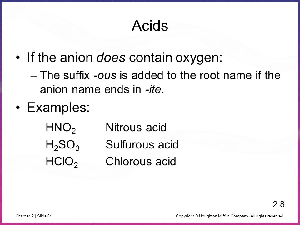 Acids If the anion does contain oxygen: Examples: HNO2 Nitrous acid