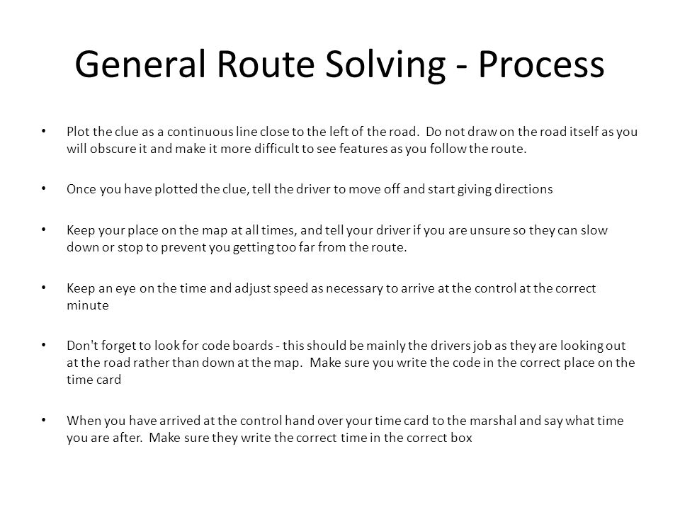 General Route Solving - Process