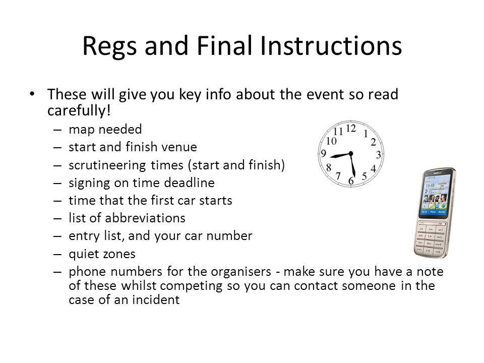 Regs and Final Instructions