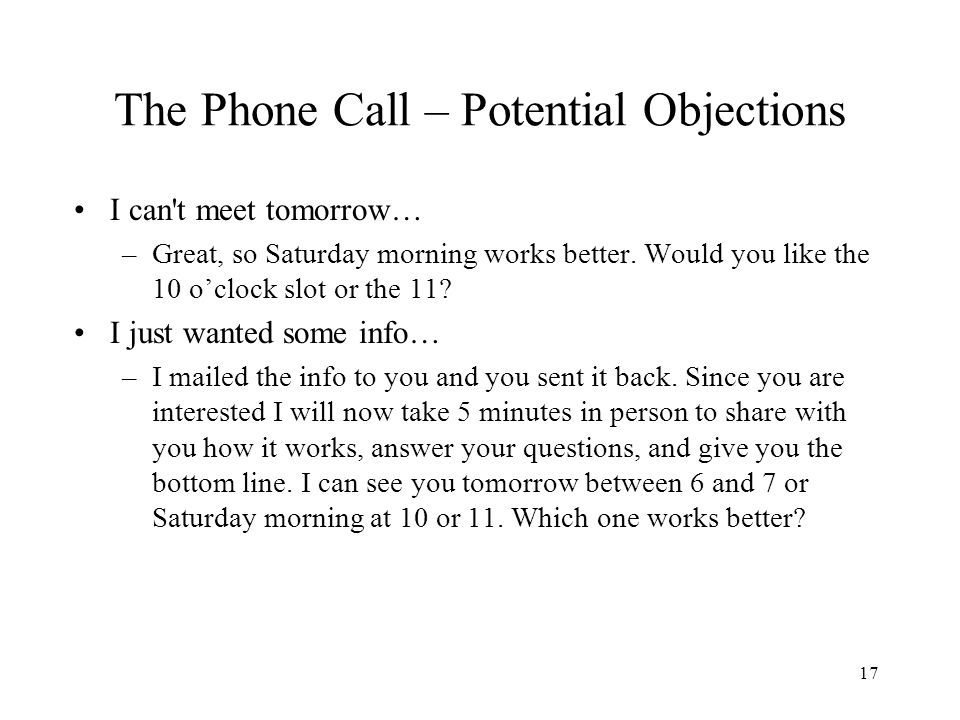 The Phone Call – Potential Objections