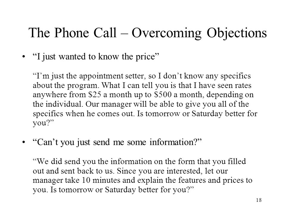 The Phone Call – Overcoming Objections