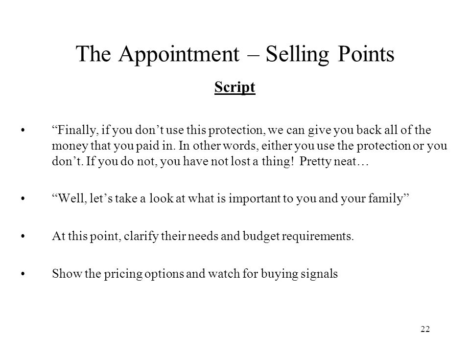 The Appointment – Selling Points