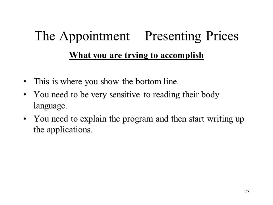 The Appointment – Presenting Prices