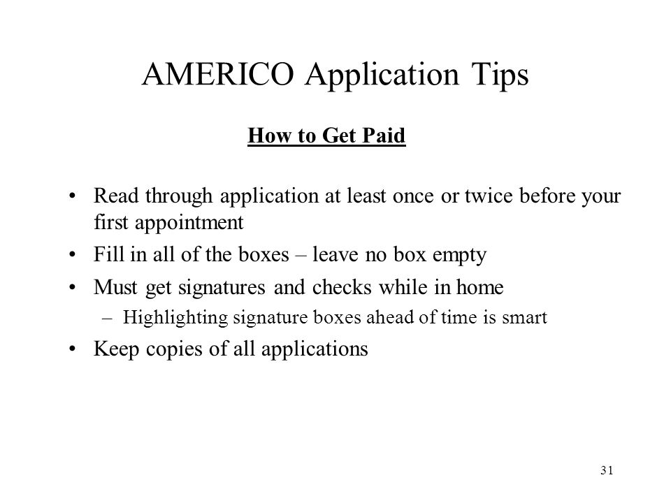 AMERICO Application Tips