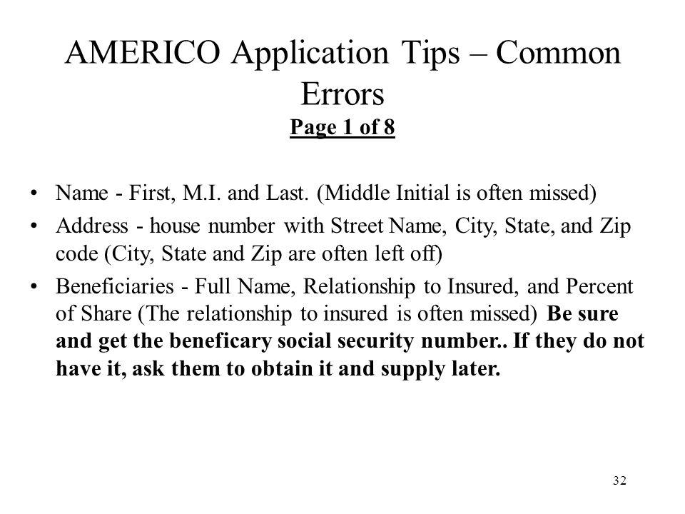 AMERICO Application Tips – Common Errors