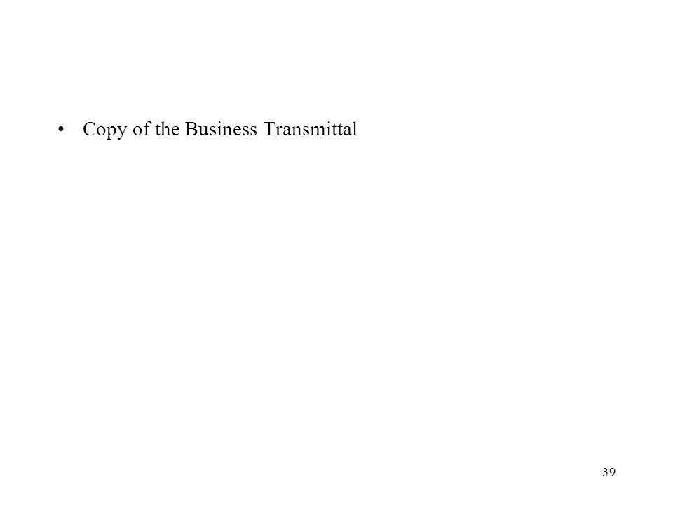 Copy of the Business Transmittal