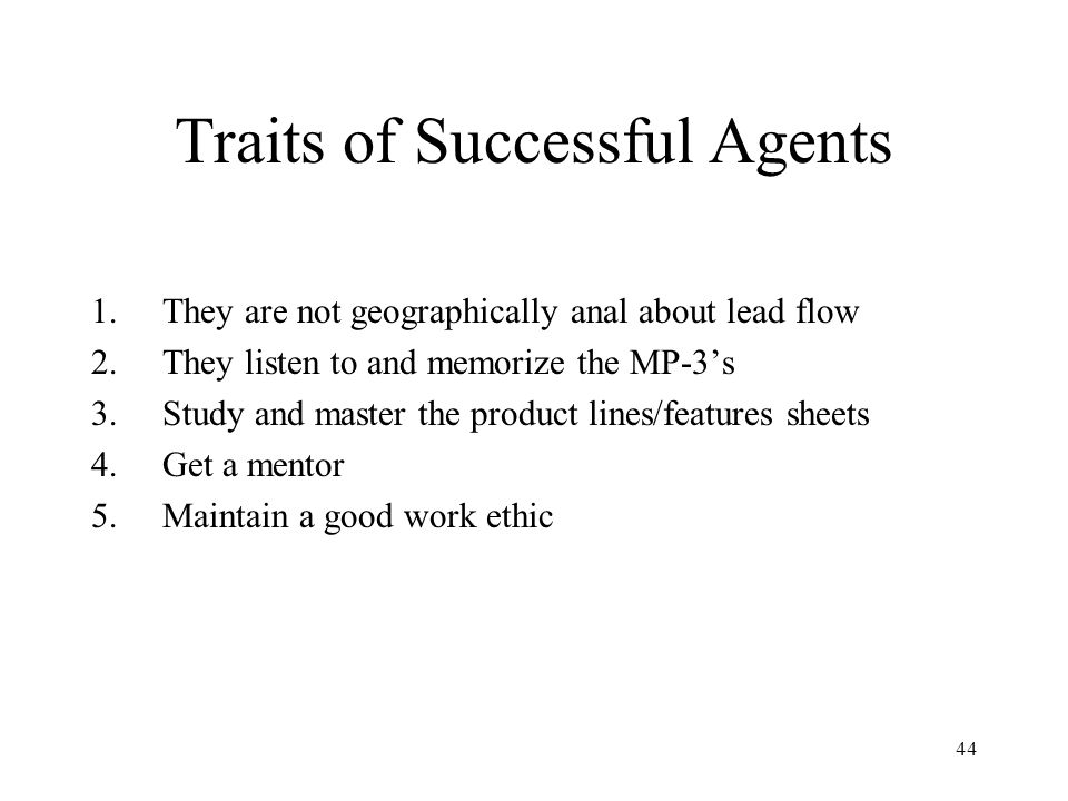 Traits of Successful Agents