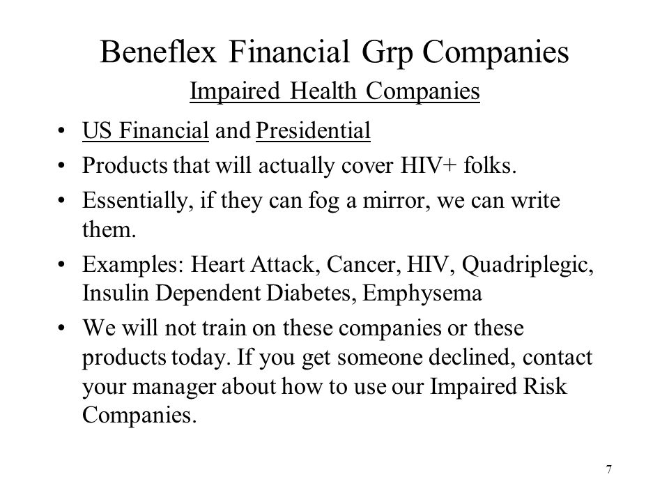 Impaired Health Companies
