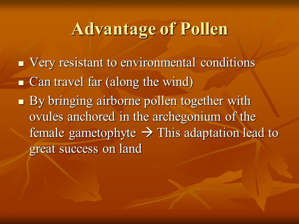 Advantage of Pollen Very resistant to environmental conditions