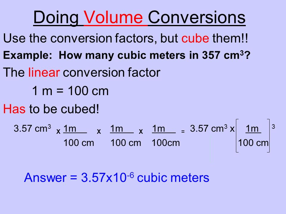 Doing Volume Conversions
