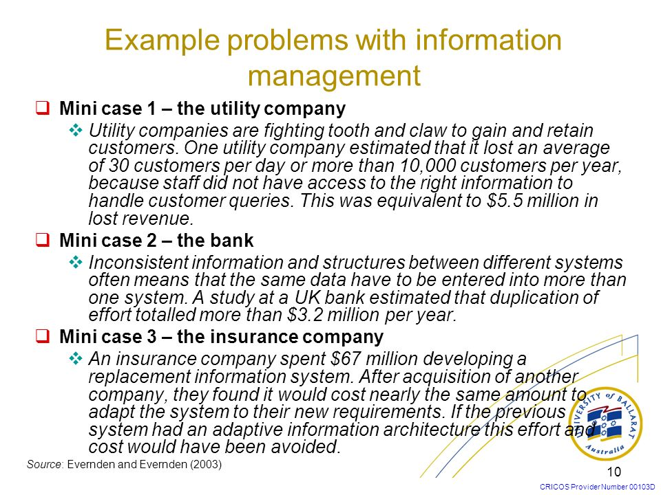 Example problems with information management