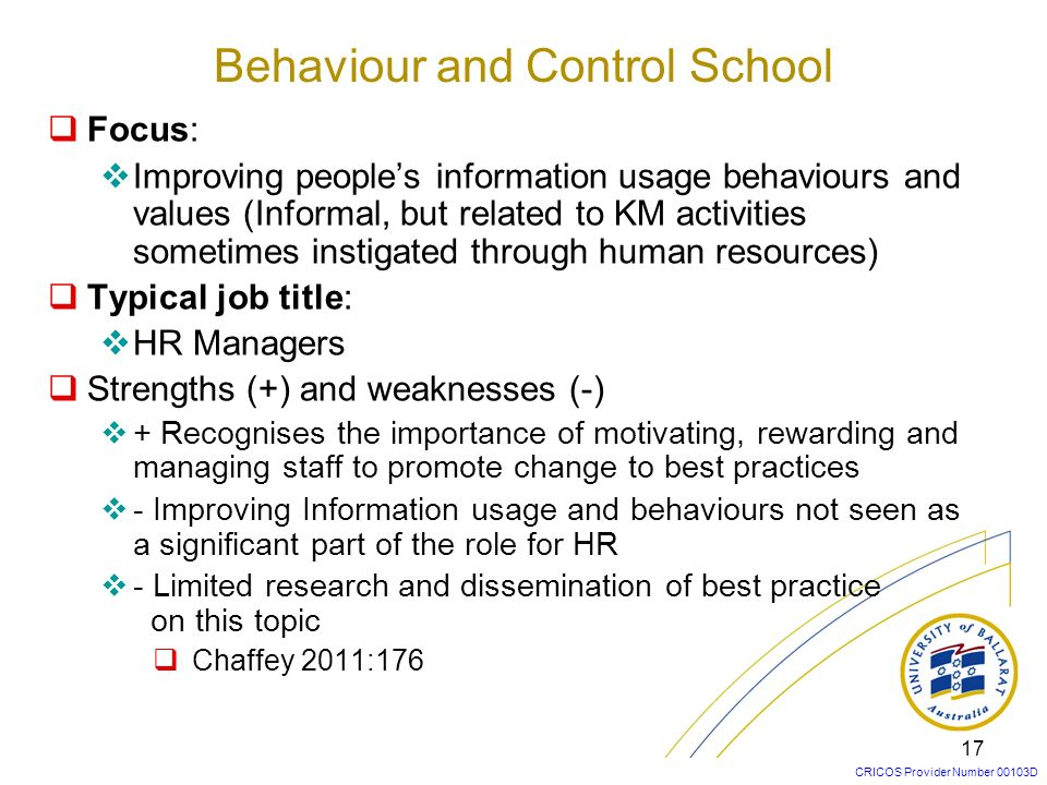Behaviour and Control School