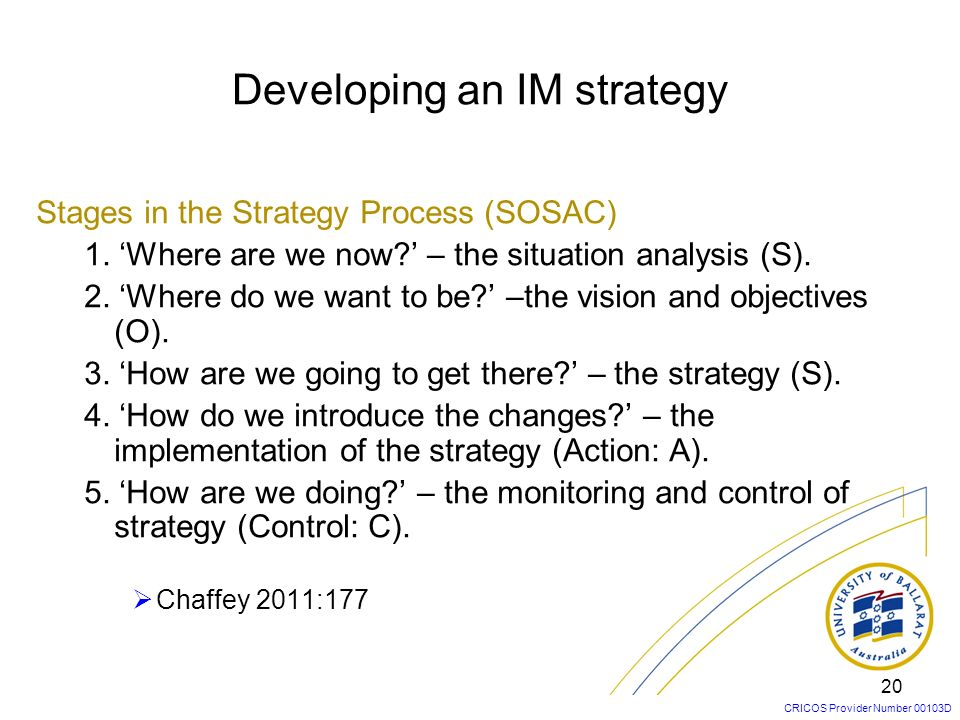 Developing an IM strategy