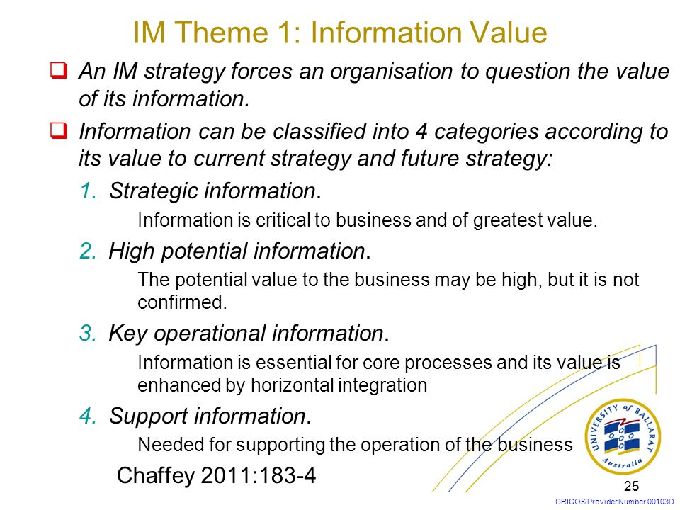 IM Theme 1: Information Value
