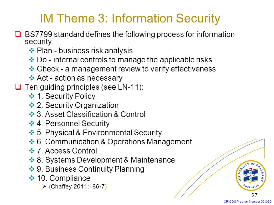IM Theme 3: Information Security