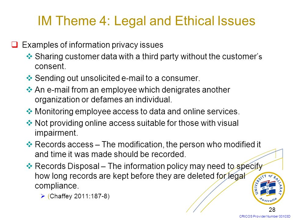 IM Theme 4: Legal and Ethical Issues