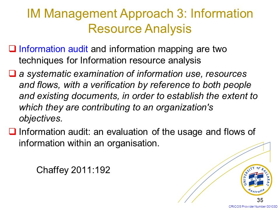IM Management Approach 3: Information Resource Analysis