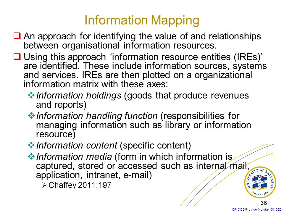 Information Mapping An approach for identifying the value of and relationships between organisational information resources.