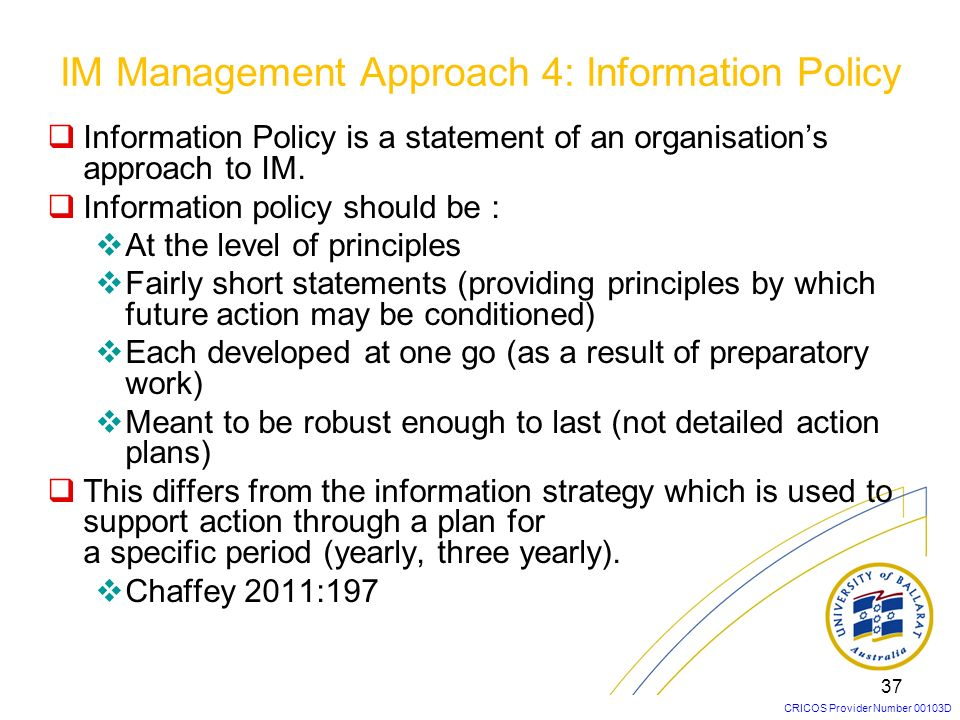 IM Management Approach 4: Information Policy